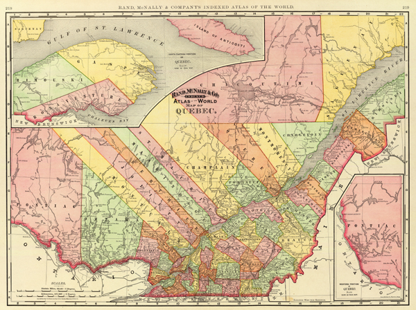 Map Of Quebec With Cities. 1892 Province of Quebec Map